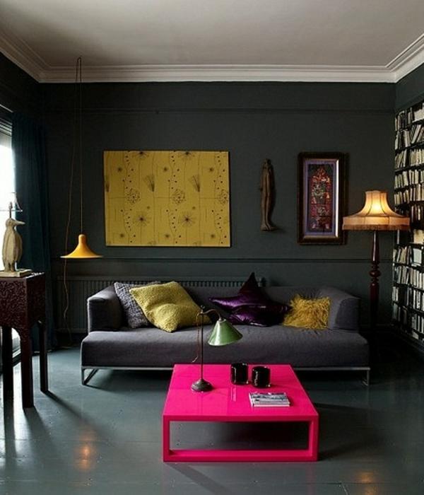 wandfarbe grautöne wohnzimmer design rosa tisch sofa