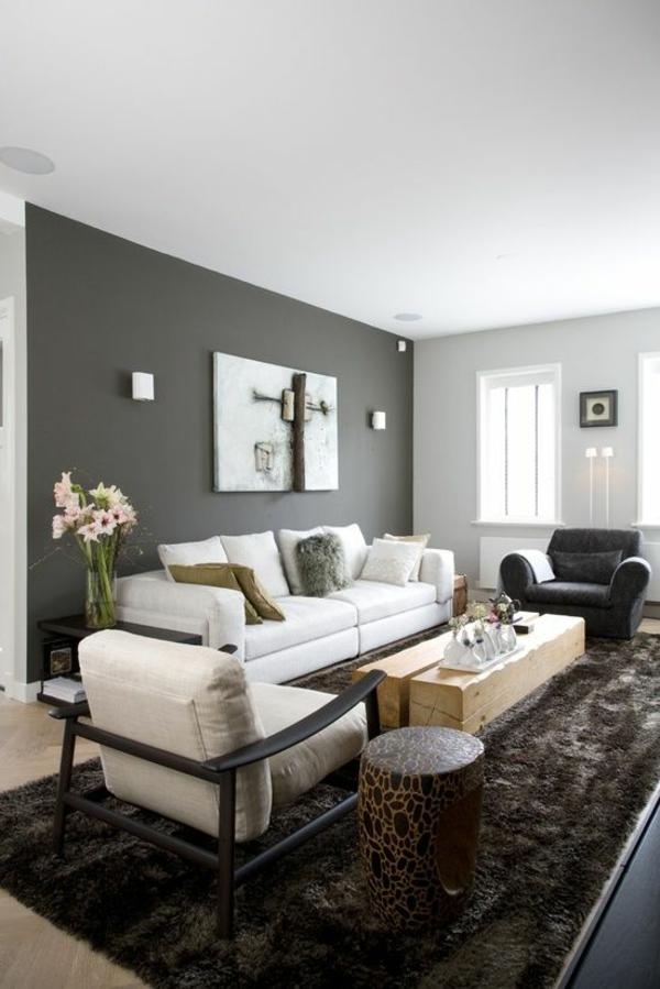 wandgestaltung grau wohnzimmer design sofa sessel teppich