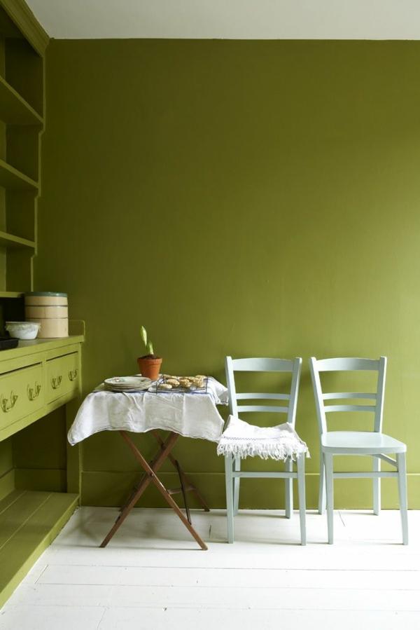wandfarbe olivgrün wände streichen farbideen esszimmer ideen