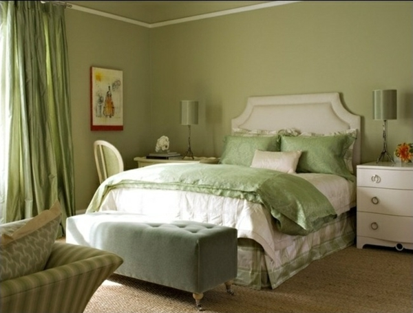 wandfarbe olivgrün wände streichen farbideen schlafzimmer farben