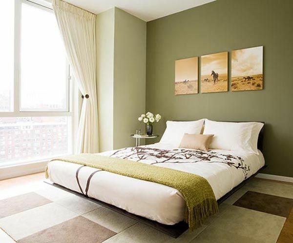 wandfarbe olivgrün wände streichen schlafzimmer grüne farbtöne