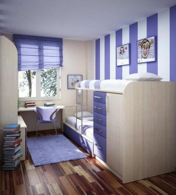 Wandfarben Ideen Kinderzimmer Lila Violett Streifenmuster Trendfarbe