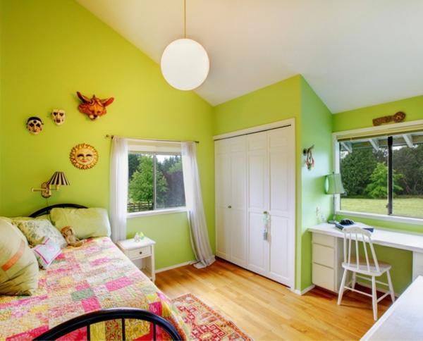 wandfarben ideen schlafzimmer hell grün wände streichen
