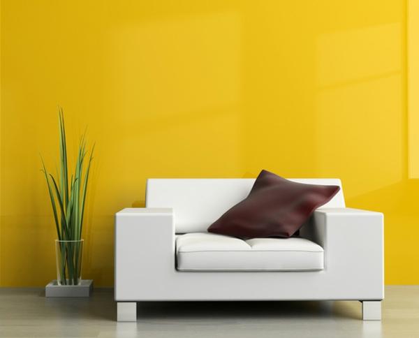wandfarben ideen wohnzimmer gelb sonnig wände streichen