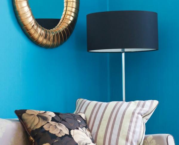 wandfarben ideen wohnzimmer sofa blau wände streichen