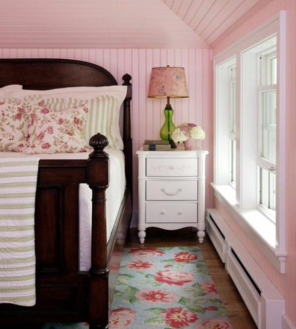 wandpaneele streichen holzoptik wandpaneele rosa streichen romantisches schlafzimmer