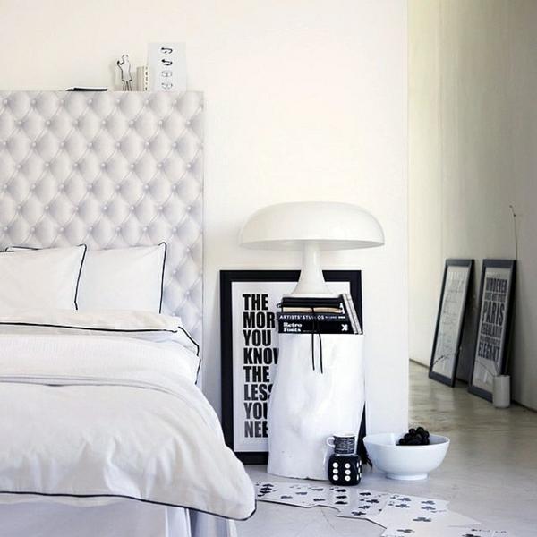 weiß schlafzimmer gestaltung kopfteil rund tisch Lampen und Leuchten