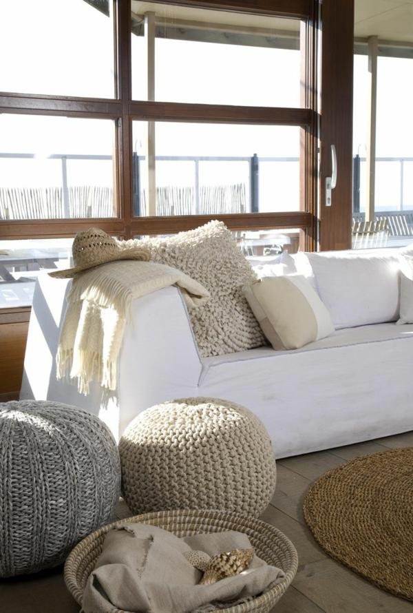 wohnideen accessoires dekoideen gestrickte möbel dekokissen