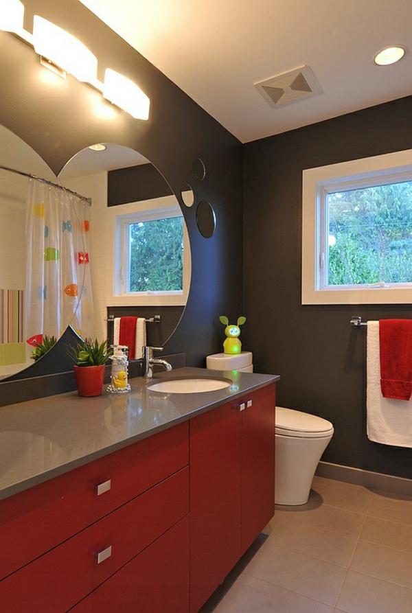 wohnideen badezimmer modern roter waschschrank spiegel