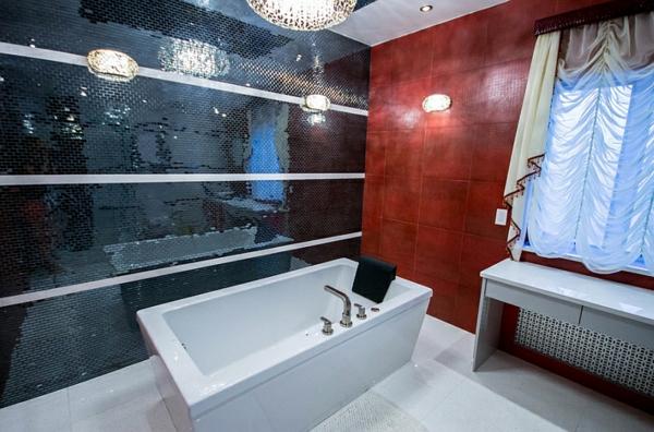 wohnideen badezimmer modern schwarze wandgestaltung