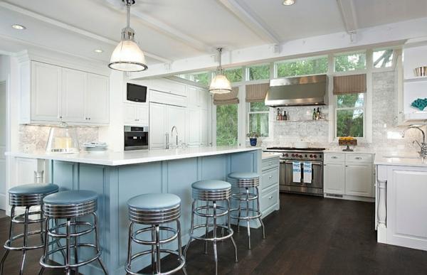 blau und weiß küchen design kücheninsel barhocker