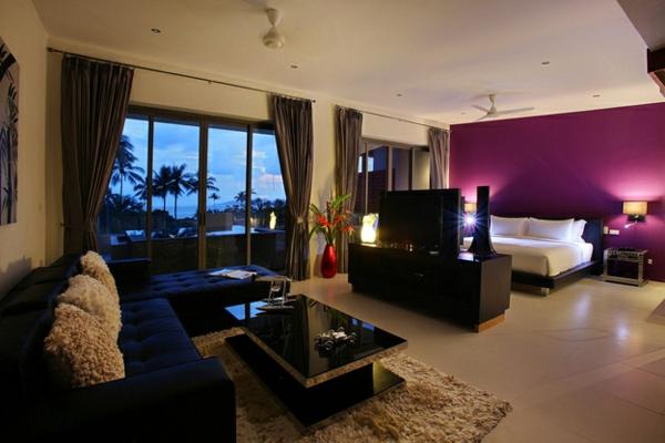 einraumwohnung einrichten schlafbereich tv sofa tisch teppich