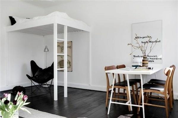 einraumwohnung einrichten weißes hochbett treppe essecke