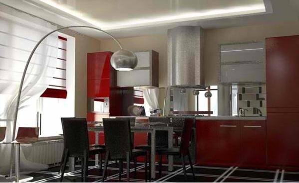 esszimmer gestalten rote küche moderne leuchten