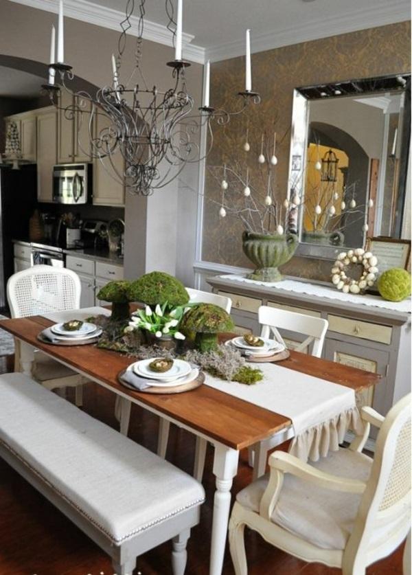 esszimmergestaltung holztisch weiße stühle sitzbank spiegel