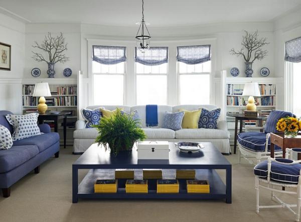 wohnzimmer blau weiß:wohnideen-innendesign-blau-und-weiß-wohnzimmer-gelbe-akzente