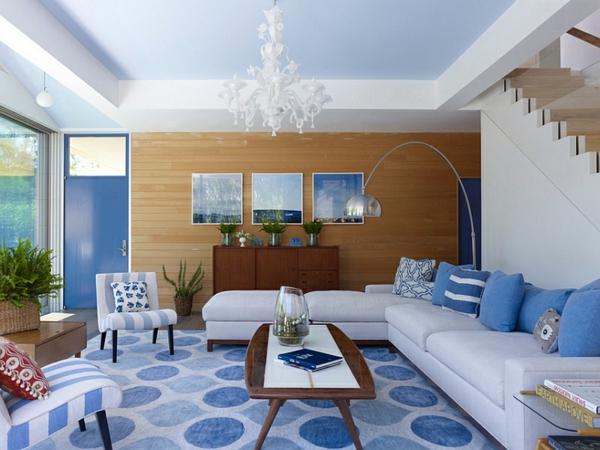 wohnideen innendesign blau und weiß wohnzimmer
