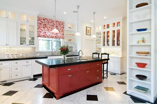 wohnideen küche kücheninsel rot schwarz weiße möbel