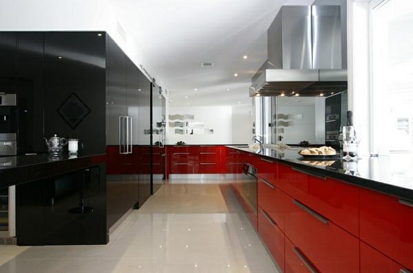 wohnideen küchen schränke rot schwarz