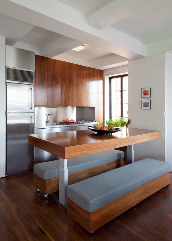 küchenlösungen für kleine küchen holztisch sitzbank