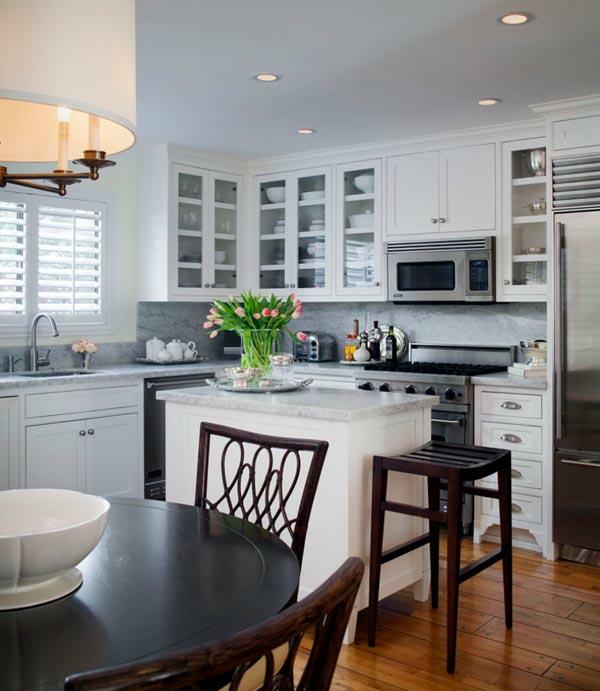 küchenlösungen für kleine küchen weiße möbel kücheninsel
