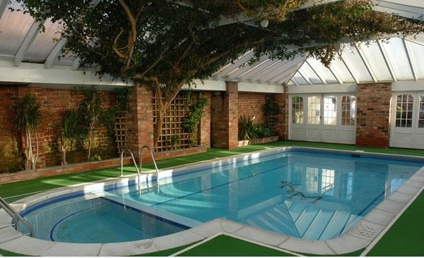 kleines schwimmbecken im innenbereich baum pflanzen