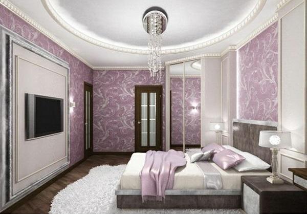 lila schlafzimmer dekorative decke bett kronleuchter