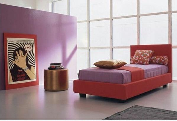 lila schlafzimmer orange akzente