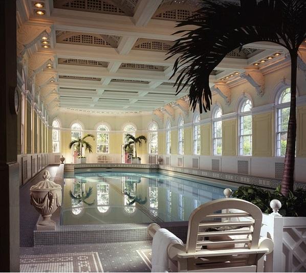modernes schwimmbecken im innenbereich palmen dekoideen