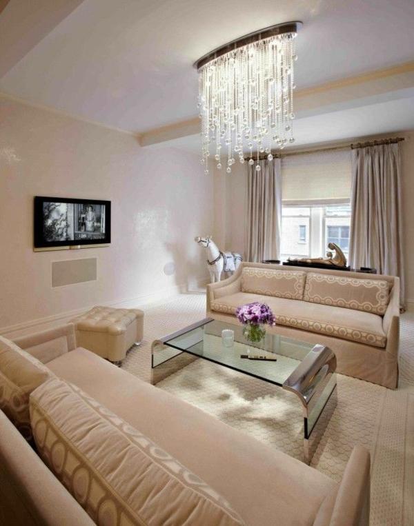 wohnzimmer beleuchtung kronleuchter kristall ornamente