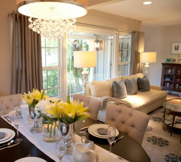 wohnzimmer beleuchtungsideen weißer kronleuchter dekoration