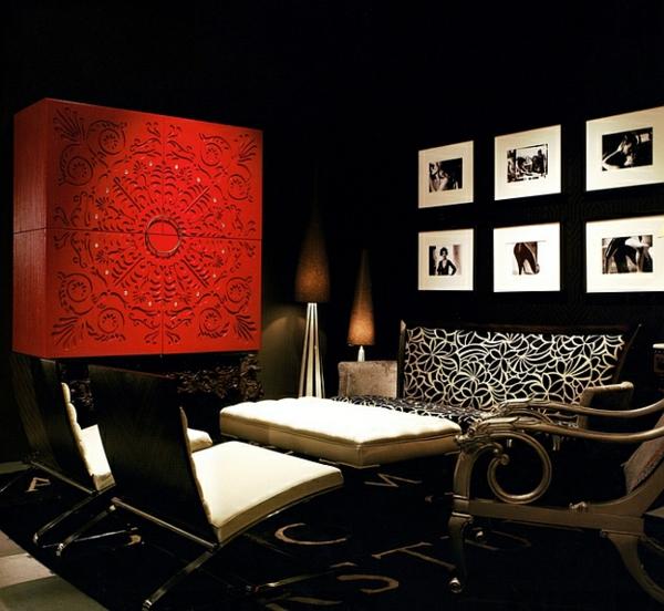 wohnideen wohnzimmer dramatisch roter wandschrank schwarzer teppich