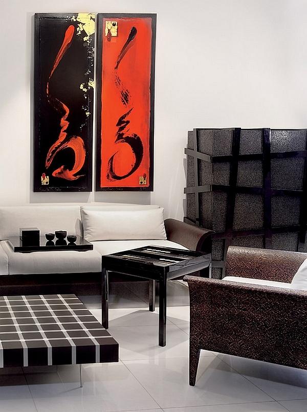 wohnideen wohnzimmer rot schwarz weiß