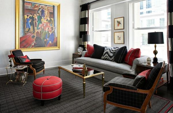 Wohnzimmer Design Sofa Sessel Roter Hocker Tischlampen