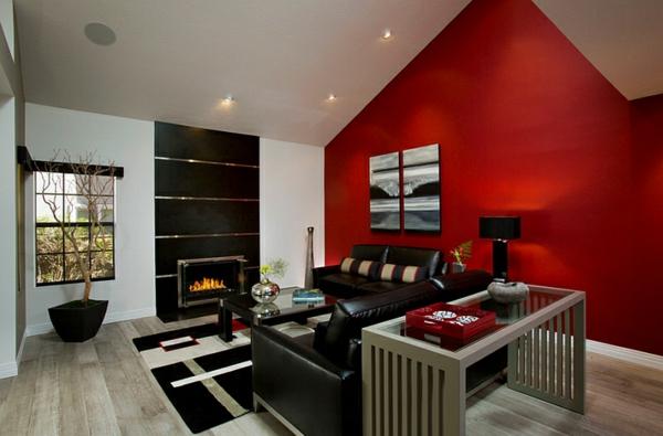 wohnideen wohnzimmer rote wand akzentwand ledermöbel