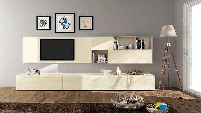 wohnideen wohnzimmer wandregale tv wohnwand minimalistisch klare linien
