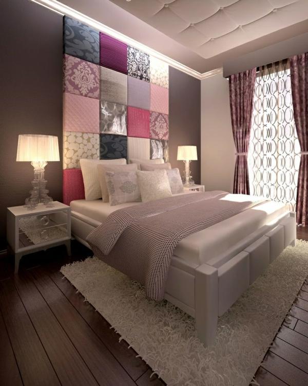 Schlafzimmer Ideen Braunes Bett ~ wohnungsgestaltung ideen schlafzimmer bett kopfteil farbig nachttische