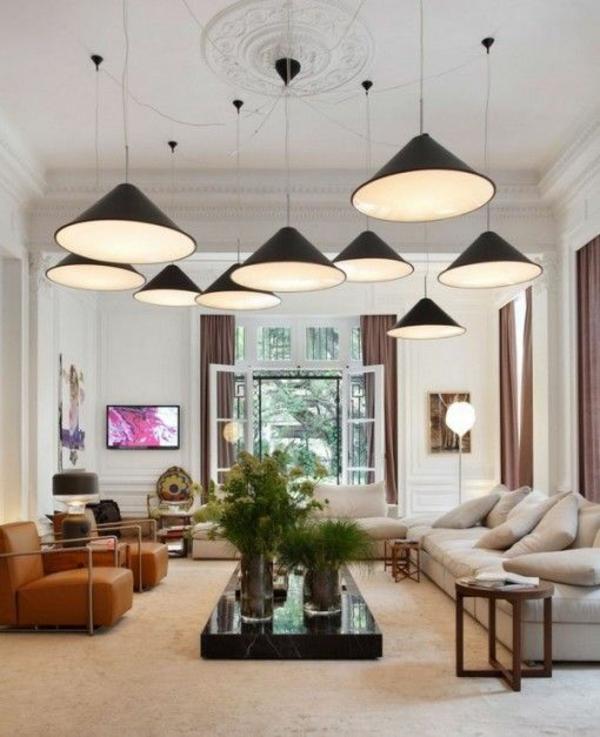 wohnzimmer beleuchtungsideen elegante pendelleuchten