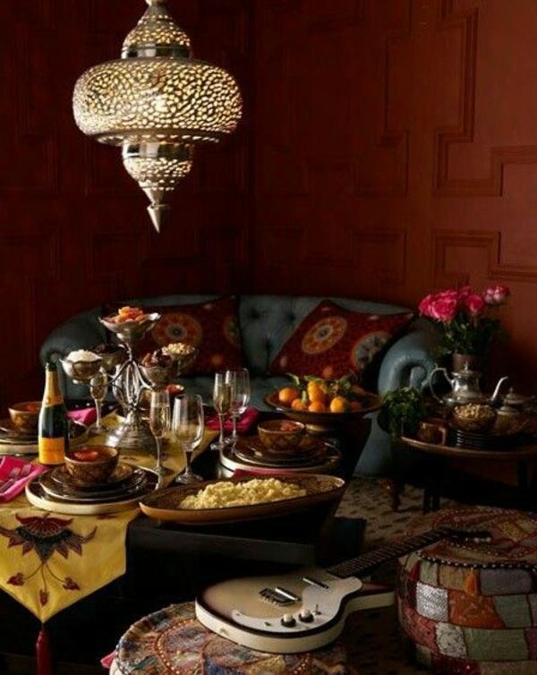 wohnzimmer beleuchtungsideen kronleuchter orientalisch
