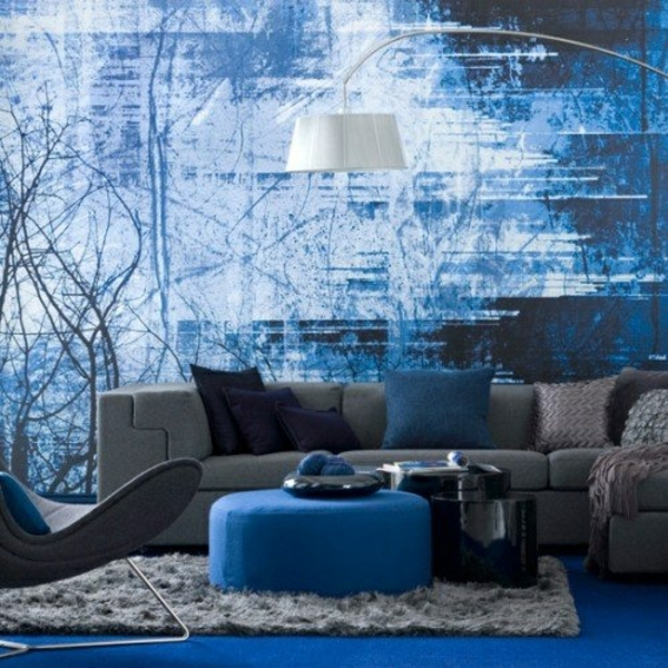 wohnzimmer design blau farbgestaltung sommerpalette