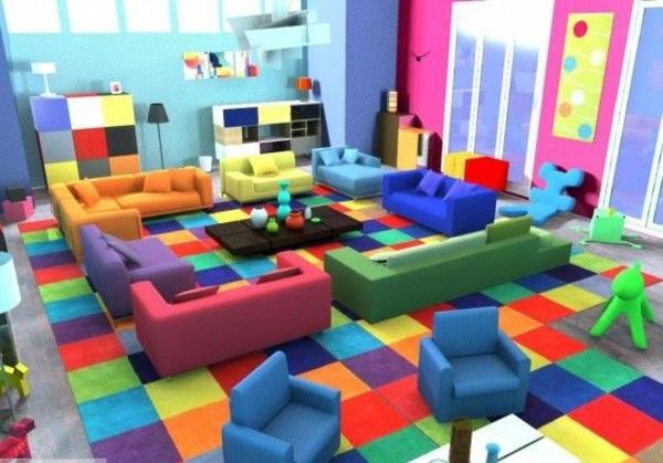 wohnzimmer farbgestaltung bunte einrichtungsideen