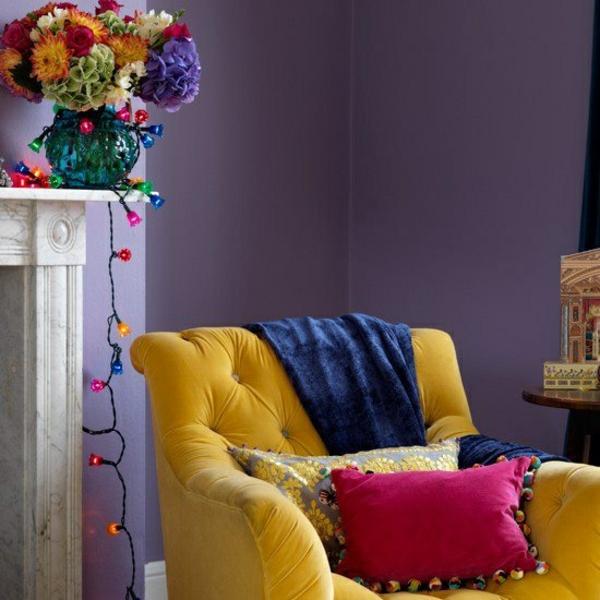 wohnzimmer sommer farbpalette gelber sessel dekoideen
