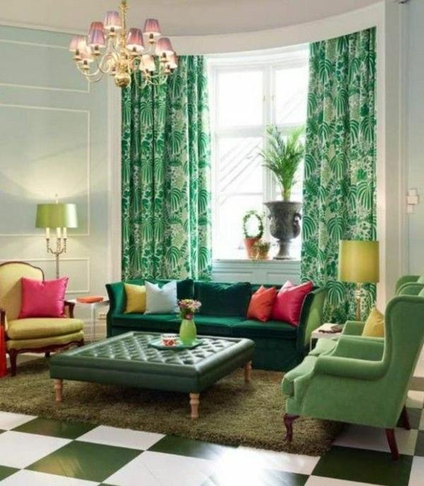 wohnzimmer design farbgestaltung sommerpalette grüne gardinen bodenbelag
