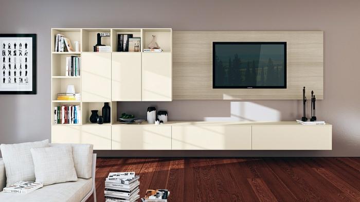 wohnzimmer einrichtungsideen tv wohnwand schlicht klare linien