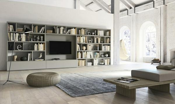 gestaltung bücherregale wandregal tv wand teppich sofa