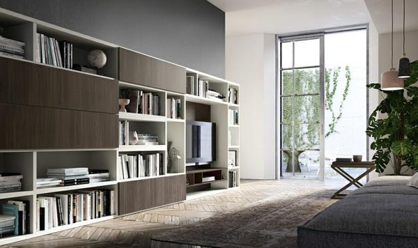 wohnzimmer kontrastfarben bücherregale wandregal