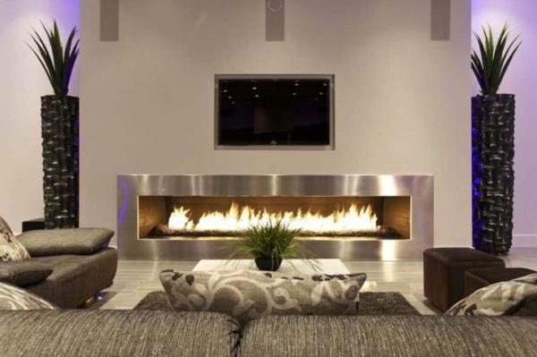 luxus wohnzimmer modern mit kamin lecker on moderne deko idee in ...