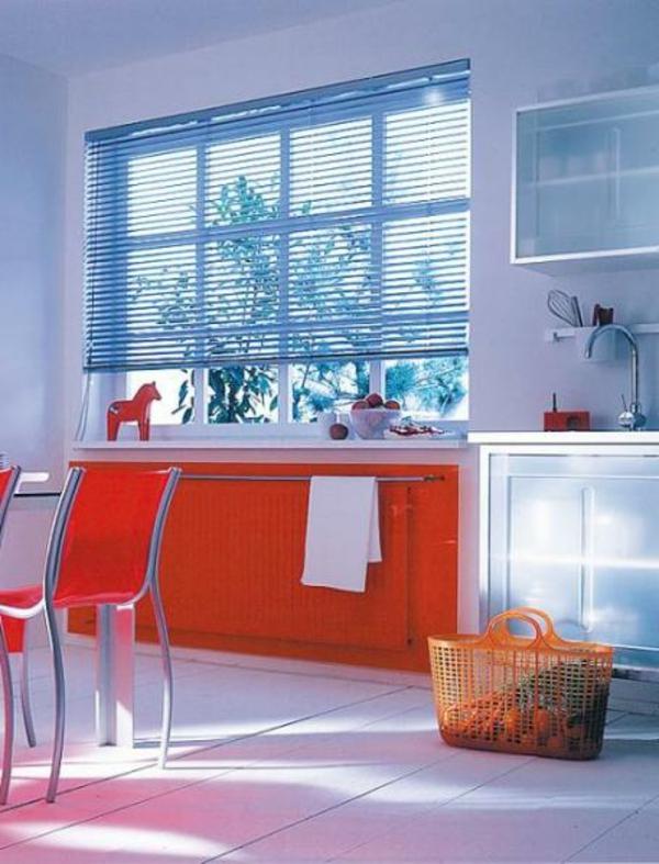 farben bunt einrichtung zimmer sessel fenster orange kochinsel