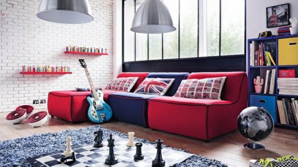 farben bunt zimmer einrichtung sofa rot