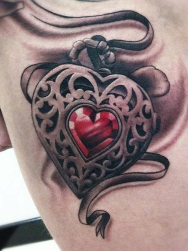 3d tattoo motive herz anhänger
